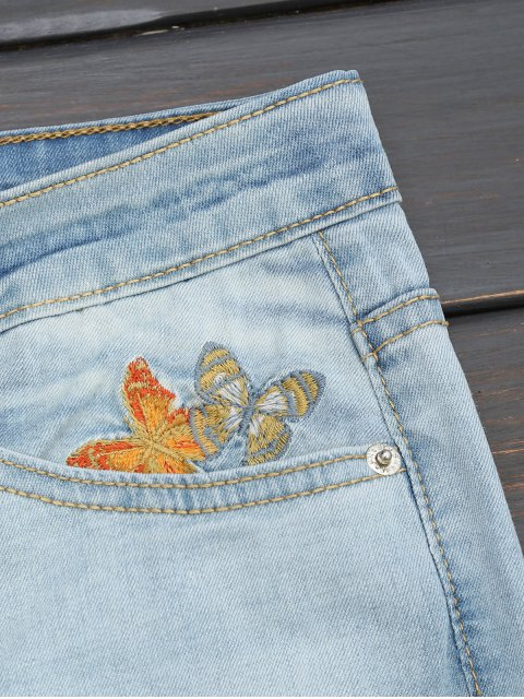 women's Ripped Floral Embroidered Narrow Feet Jeans - DENIM BLUE L Mobile