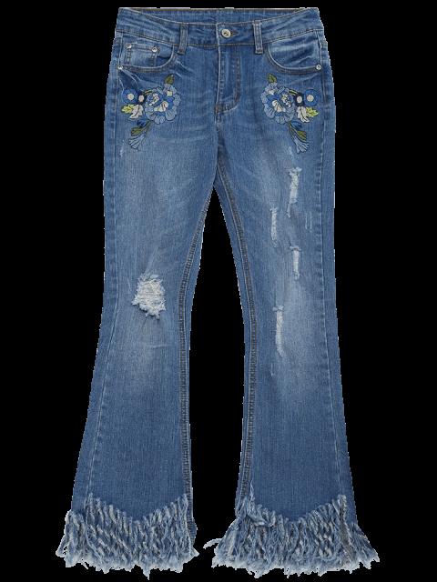 best Distressed Embroidered Cutoffs Flared Jeans - DENIM BLUE XL Mobile