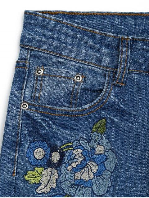 online Distressed Embroidered Cutoffs Flared Jeans - DENIM BLUE L Mobile