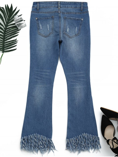 hot Distressed Embroidered Cutoffs Flared Jeans - DENIM BLUE S Mobile
