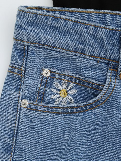 trendy High Waisted Daisy Embroidered Denim Shorts - DENIM BLUE S Mobile
