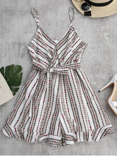 online Geometric Print Belted Cami Romper - WHITE ONE SIZE Mobile