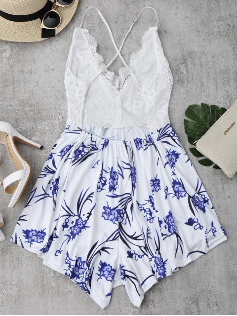 outfit Lace Panel Printed Open Back Romper - WHITE S Mobile