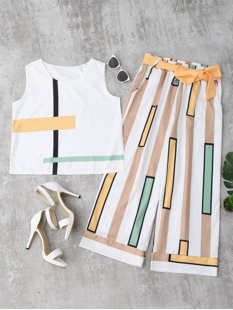 buy Striped Tank Top and Belted Pants - YELLOW M Mobile
