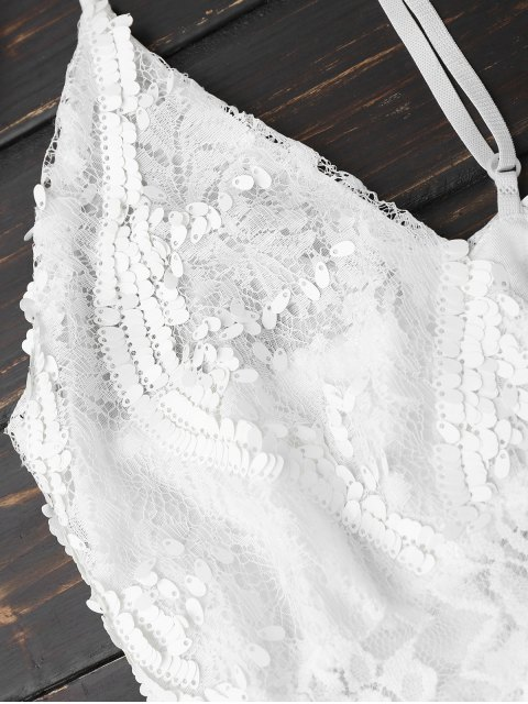 women's Sequins Lace Cami Dress - WHITE S Mobile