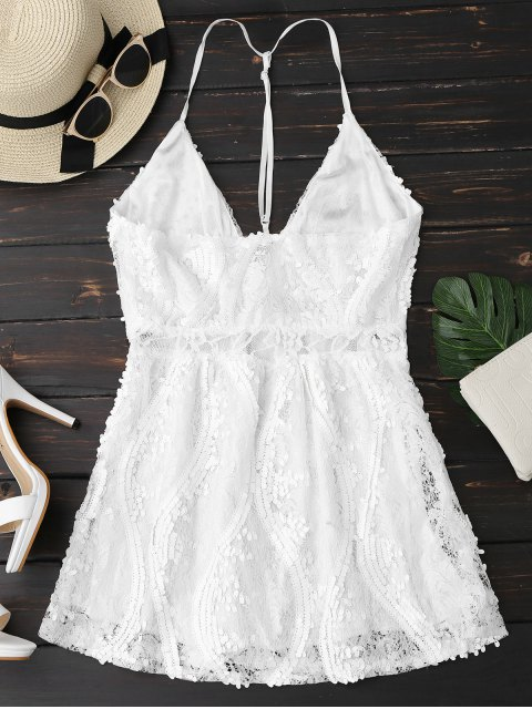 ladies Sequins Lace Cami Dress - WHITE M Mobile