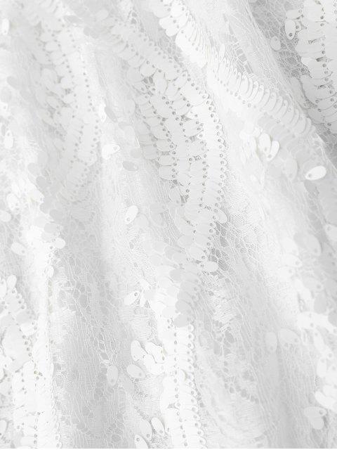 lady Sequins Lace Cami Dress - WHITE L Mobile
