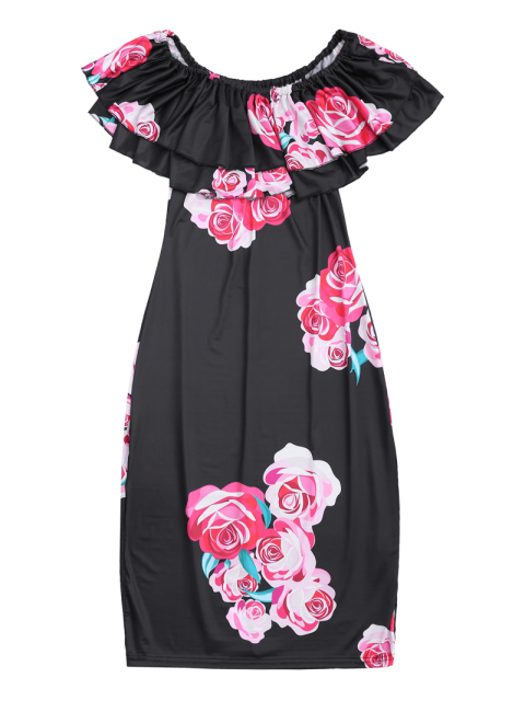 fashion Off Shoulder Ruffle Floral Sheath Dress - BLACK S Mobile