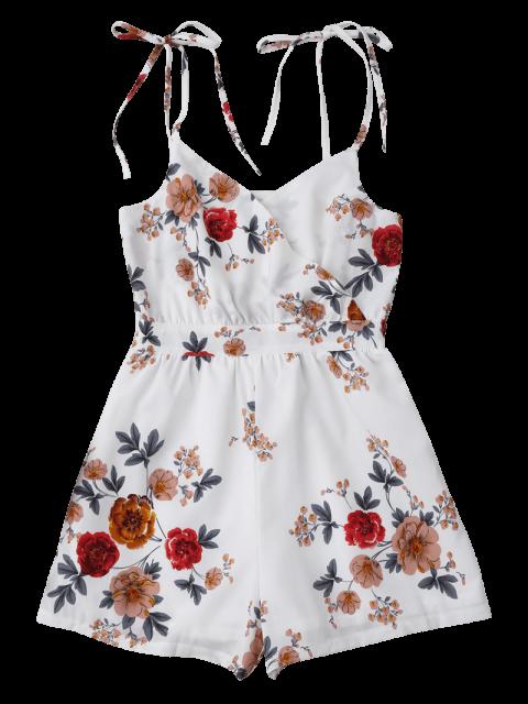 buy Floral Print Self Tie Cami Romper - WHITE S Mobile