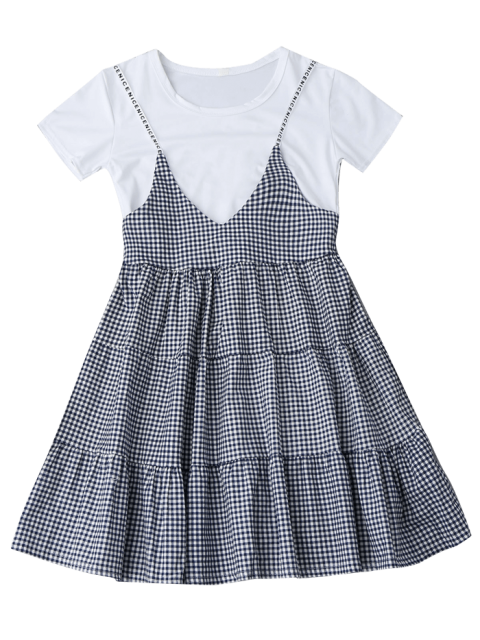 outfit Plain Tee with Checked Cami Dress Set - CHECKED ONE SIZE Mobile