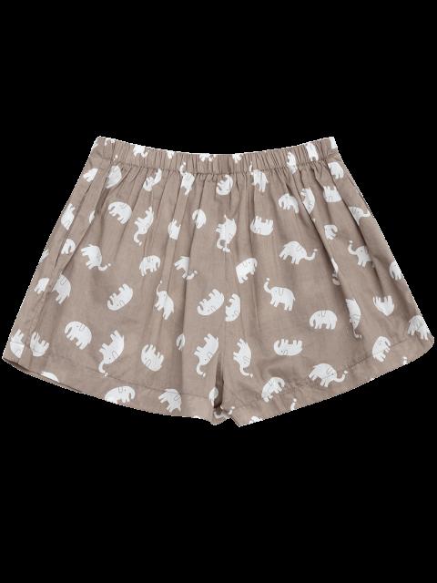 sale Pockets Elephant Print Loungewear Shorts - LIGHT KHAKI S Mobile