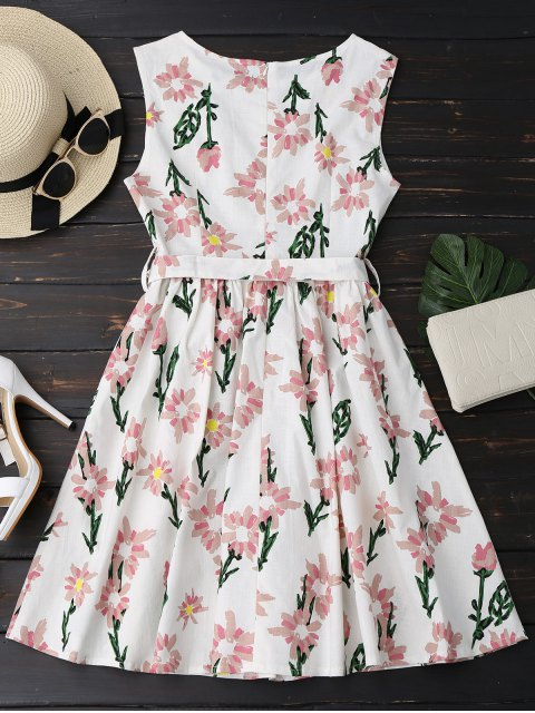 fashion Floral Print Sleeveless Belted Dress - FLORAL S Mobile