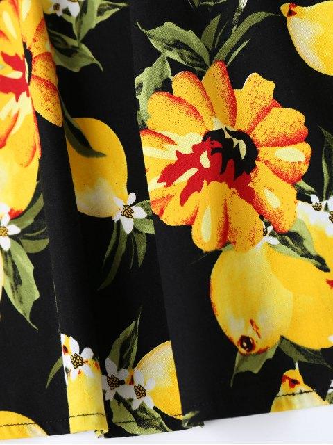 sale Lemon Print Sleeveless Flare Dress - BLACK S Mobile