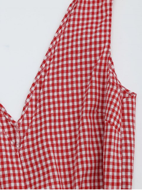 hot Checked Plunge Romper - CHECKED S Mobile