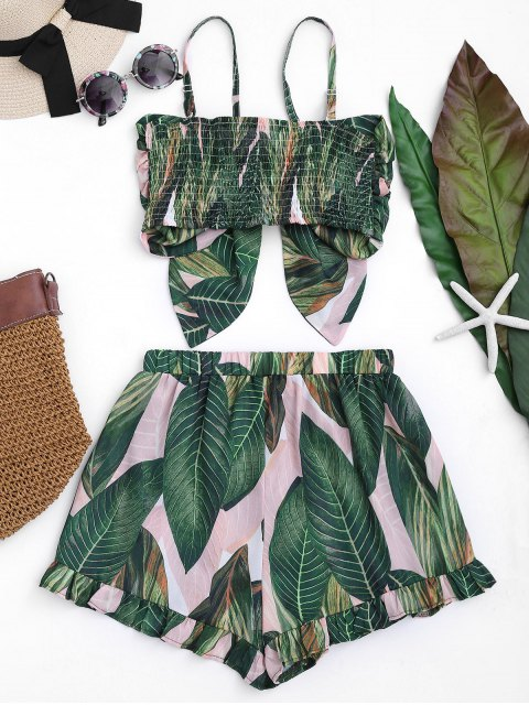 unique Bowknot Leaf Print Smocked Top with Ruffles Shorts - FLORAL L Mobile