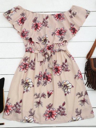 Zaful Floral Belted Off Shoulder Mini Dress