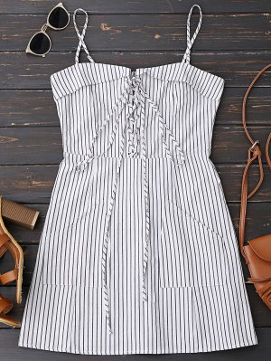 Lace Up Stripes Mini Dress With Two Pockets - Stripe S