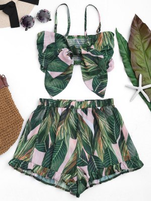 Bowknot Leaf Print Smocked Top with Ruffles Shorts