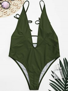 Tied Cami Plunging Neck High Cut Swimsuit - Army Green S