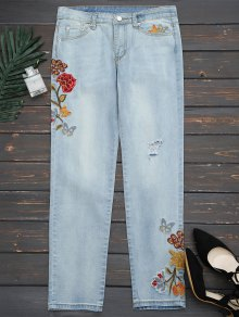 Ripped Floral Embroidered Narrow Feet Jeans - Denim Blue S