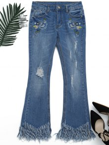 Distressed Embroidered Cutoffs Flared Jeans