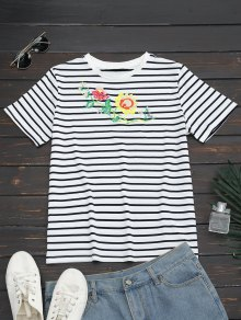 Stripes Floral Embroidered Cotton T-Shirt