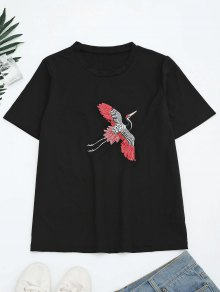Sequins Crane Embroidered Cotton T-Shirt