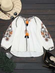 Lantern Sleeve Tassels Embroidered Blouse