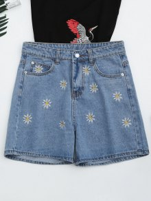 High Waisted Daisy Embroidered Denim Shorts
