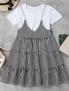 Plain Tee with Striped Cami Dress Set