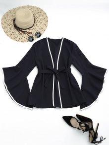 Flare Sleeve Belted Kimono Blouse - Black M