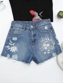 Cutoffs Ripped Floral Embroidered Denim Shorts