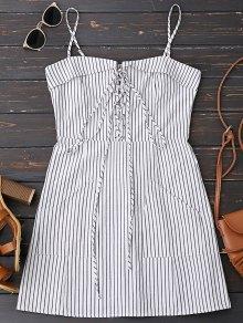 فستان الرباط مخطط مصغر مع جيبين - شريط L