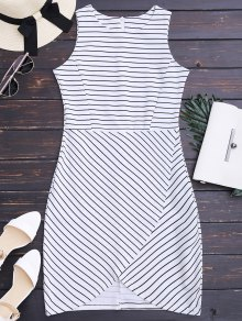 Round Collar Sleeveless Striped Dress