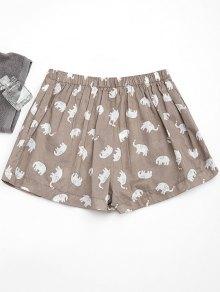 Pockets Elephant Print Loungewear Shorts - Light Khaki L