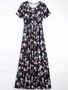 Round Collar Floral Print Maxi Dress