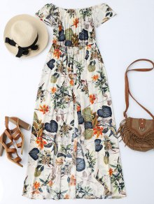 Off The Shoulder Leaves Print Maxi Romper