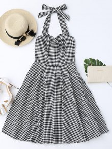 Halter Vintage Checked Dress - Checked Xl