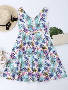 Floral Print Notched Flare Dress