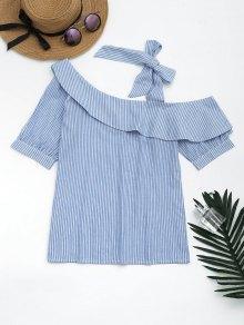 Skew Collar Self Tie Striped Blouse