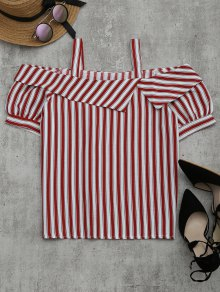 Cold Shoulder Striped Blouse - Red Xl