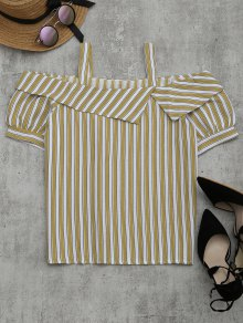 Cold Shoulder Striped Blouse - Yellow M