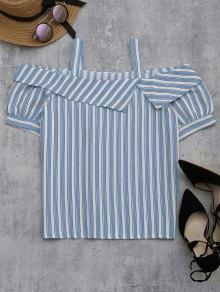 Cold Shoulder Striped Blouse - Light Blue M