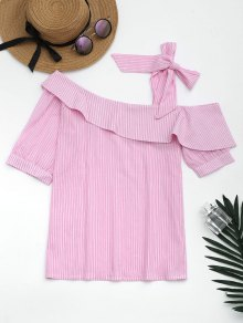 Skew Collar Self Tie Striped Blouse
