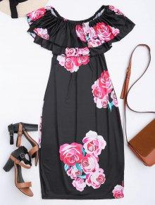 Vestido De Vaina Con Estampado De Flores Con Hombros Al Aire Con Volantes - Negro M