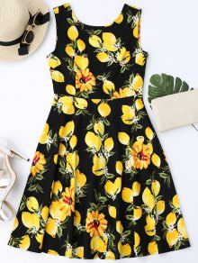 Lemon Print Sleeveless Flare Dress