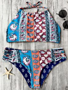 Patchwork Print High Neck Bikini Set