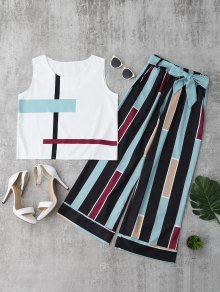 Striped Tank Top And Belted Pants - Light Blue M