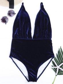 Maillot De Bain En Mousseline De Soie Rembourré Velvet Plunge - Bleu M
