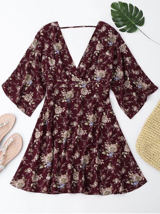 new Kimono Sleeve Floral A-Line Dress - WINE RED L